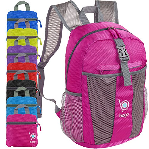 bago Lightweight Backpack. Water Resistant Collapsible Rucksack for Travel and Sports. Foldable and Packable Daypack for Adults, Men and Women, Teens and Children (Pink)