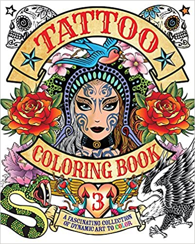 Tattoo Coloring, Book 3 (Chartwell Coloring Books)