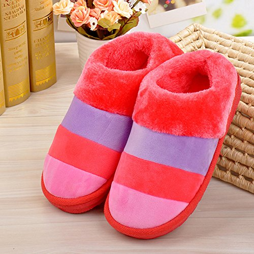 Bluester Women Ladies Home Floor Soft Stripe Slippers Female Cotton-Padded Shoes Shoes Red VJwWLOW