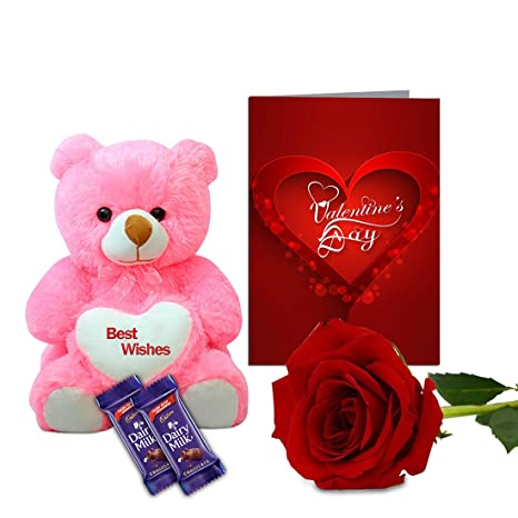Buy Aart Store Valentines Gift For Wife Boyfriend Girlfriend Husband Teddy Bear Artificial Rose Two Chocolate Valentine Day Card Online At Low