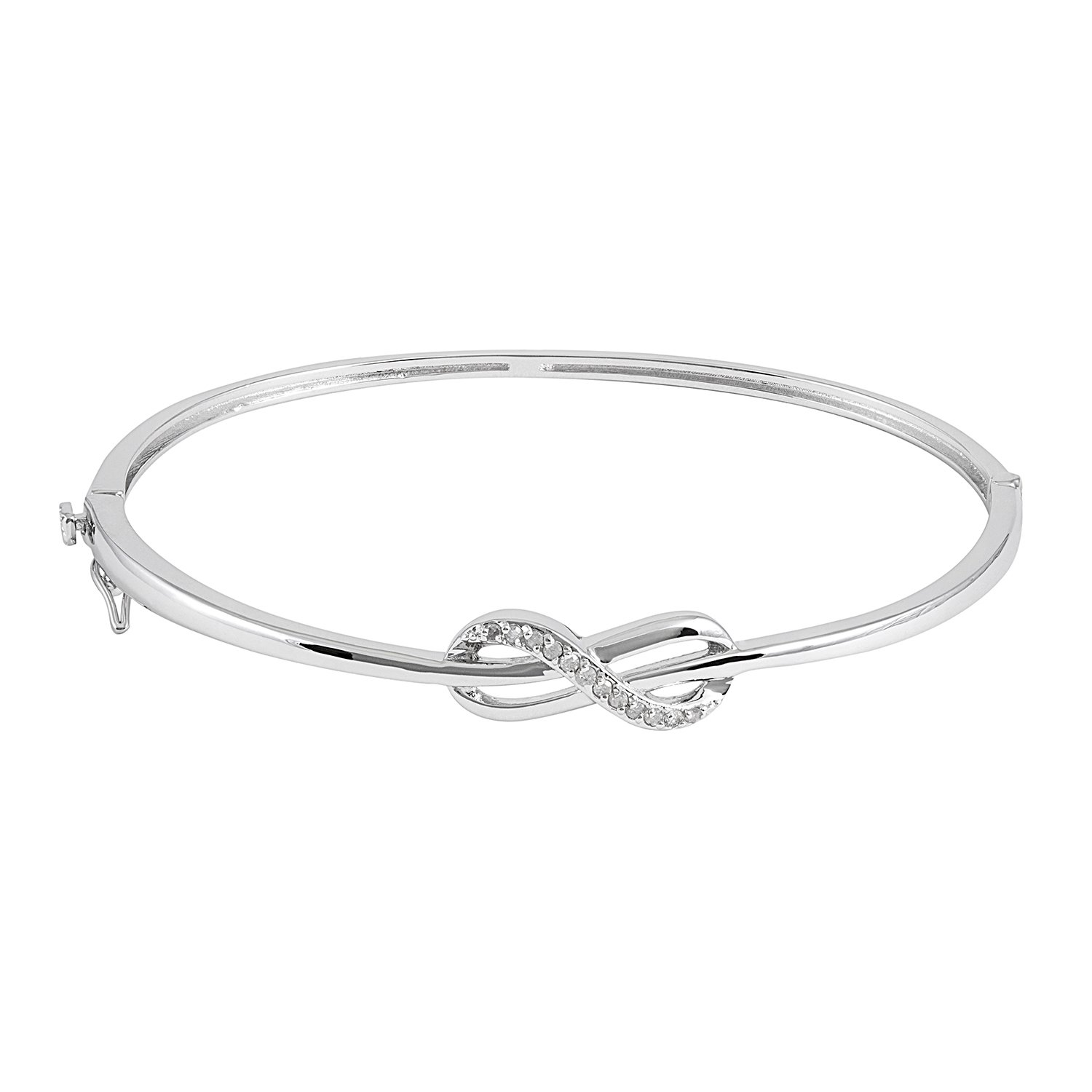 JewelExclusive Sterling Silver 1/10cttw Natural Round-Cut (J-K Color, I2-I3 Clarity) Infinity Knot Bangle Bracelet