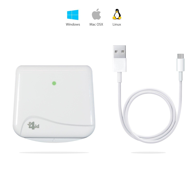 MiniLector EVO Bit4id - il lettore di smart card più diffuso in Italia - lettore scrittore di smartcard di firma digitale - smart card reader (USB full speed 62mmx18mmx66mm) – bright white