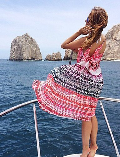 skt-swimwear Damen Urlaub Essential Print Chiffon Strand Kleid