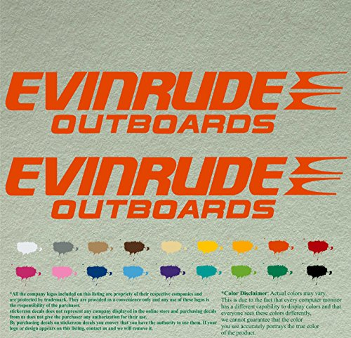 Pair of Evinrude Outboards Decals Vinyl Stickers Boat Outboard Motor Lot of 2 (12 inch, Orange034)