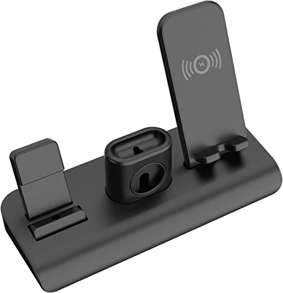 AODUKE Wireless Charger Stand,4 in 1 Wireless Charging Station Dock Compatible with iWatch 5 4 3 2 1 Samsung Galaxy S9 S8 and Headphones Stand Holder Airpods,iPhone 11 11 Pro X Xs XR Max 8 Plus 8