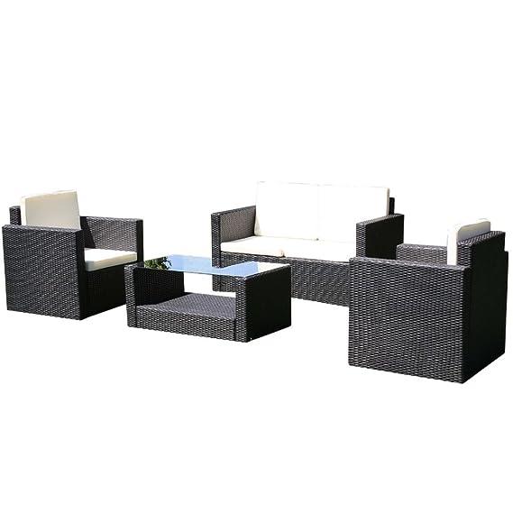 Amazon.de: vidaXL Lounge Set Poly Rattan Breno Schwarz Sitzgruppe ...