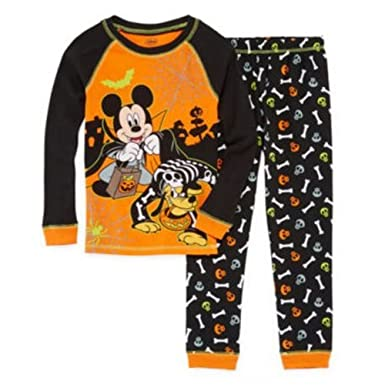 disney mickey mouse size 3 skeleton pluto halloween pajama set
