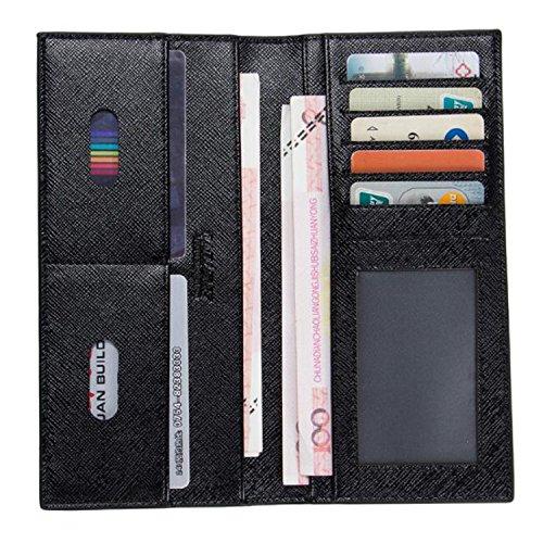 Young & Ming - Superschlank Ultra dünnen Mode neue Design Material Muttersprachen Pinnwand Handtasche aus Leder Geldbörse für Herren man Schwarz Q6KTt