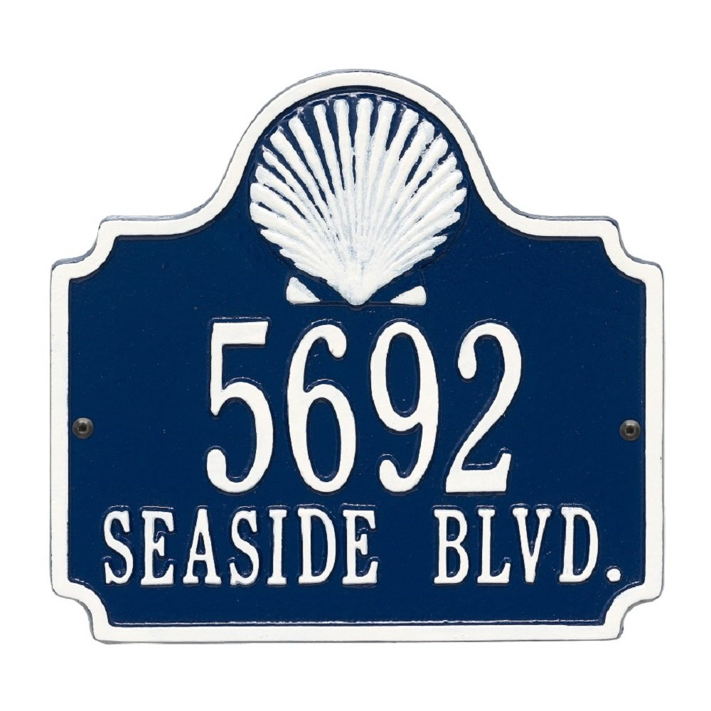 Custom 2 Line Conch Shell Aluminum Address Plaque 10.75''W x 10''H