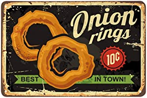 AOYEGO Onion Rings Tin Sign,Restaurant Fast Delicious Food Best in Town Black Vintage Metal Tin Signs for Cafes Bars Pubs Shop Wall Decorative Funny Retro Signs for Men Women 8x12 Inch