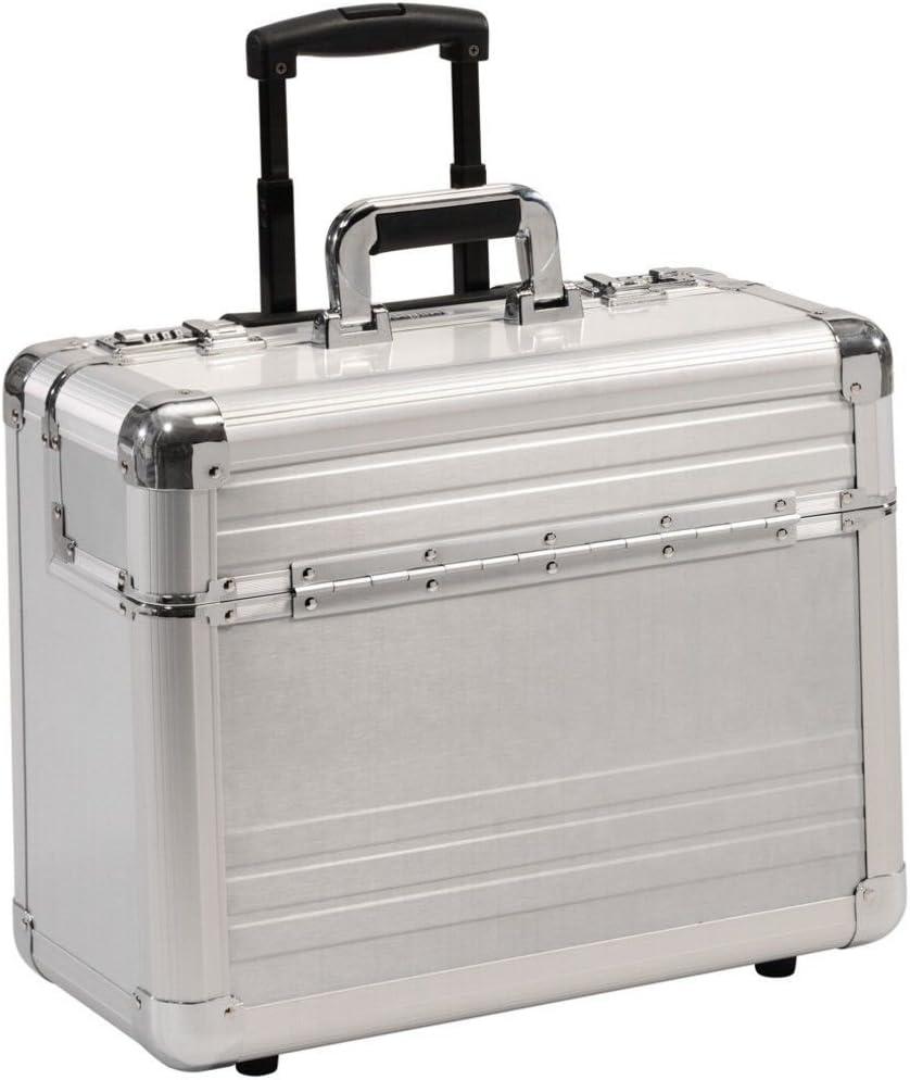 Maleta de Piloto XL Aluminio Plateado con Trolley Ruedas Compartimento para portátil