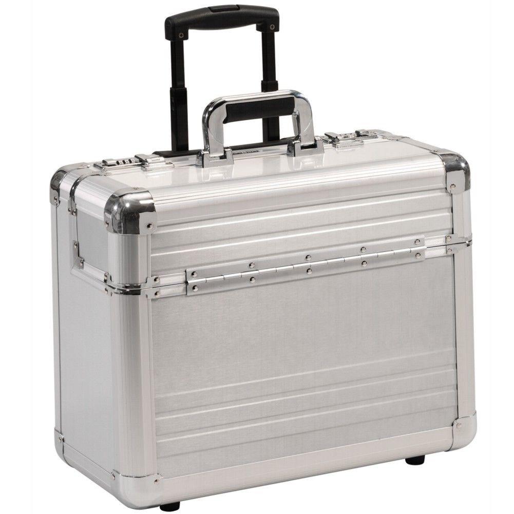 Valise mallette cas de pilote avec trolley roulettes Pilotetrolley aluminium argent 49012