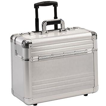 XL Pilotenkoffer Pilotentrolley Aluminium Alu Schwarz Koffer mit Rollen Trolley