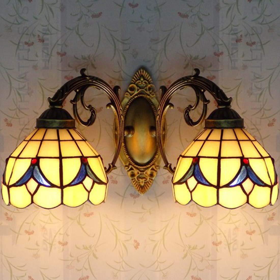 ティファニースタイルウォールランプ、LEDステンドグラス壁取り付け用燭台ライト、アメリカンシンプルリビングルームのベッドルームデコレーションベッドサイドランプ、E27 110-240V (色 : 黄) B07R685C3B 黄