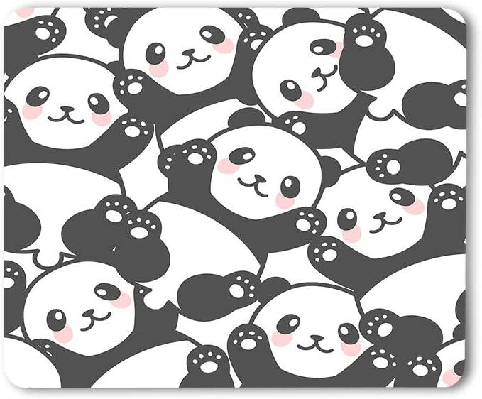 Moslion Smile Panda Mouse Pad Decorative Cute Little Lovely Animal Pattern Funny Happy Nature Gaming Mouse Mat Non-Slip Rubber Base Thick Mousepad for Laptop Computer PC 9.5x7.9 Inch