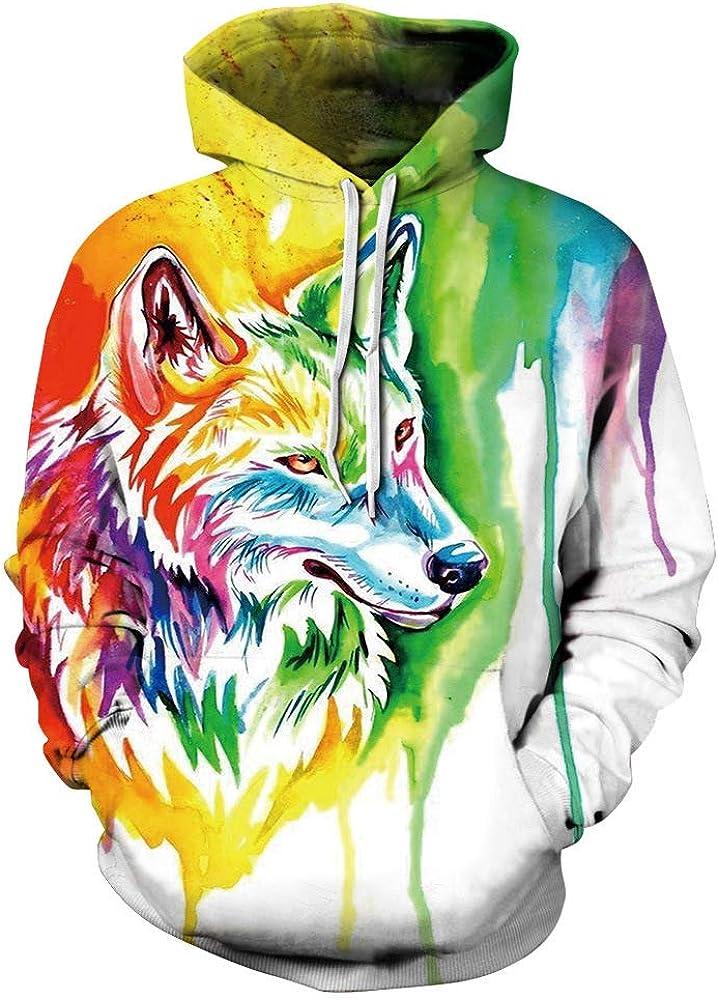 BEAUTYL ///Colorido Cabeza de Lobo 3D su/éter con Capucha impresi/ón Parejas Pullover Sudadera con Capucha Su/éter Hoddie Camiseta con Estampado