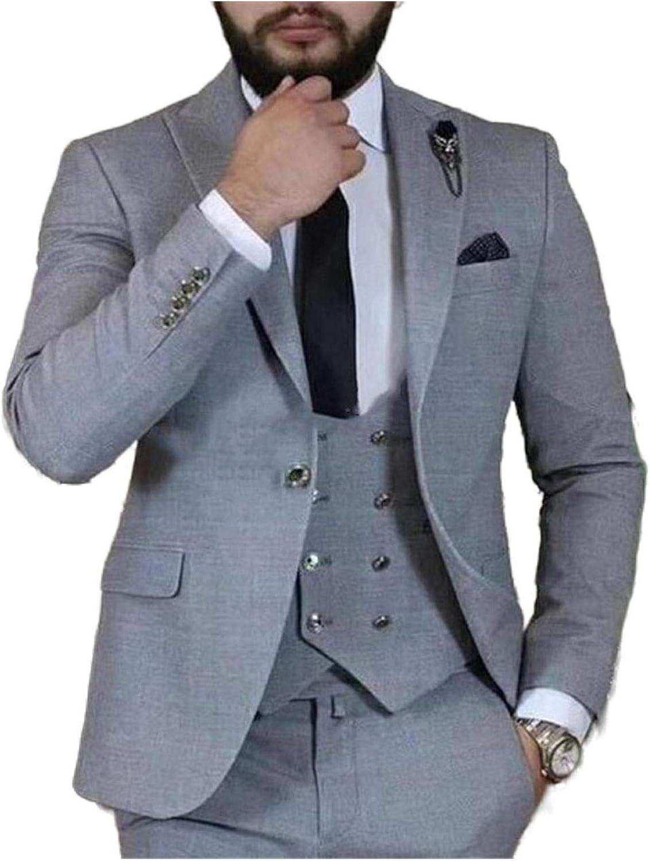 Outwear Traje de hombre gris 3 piezas Slim Fit Prom Wedding ...