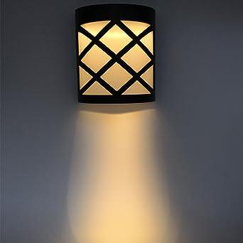 Solar Alimentado por exterior lámpara, luz de seguridad impermeable para jardín, valla ; luces de jardín ; luz blanco cálido (3000 K): Amazon.es: Iluminación