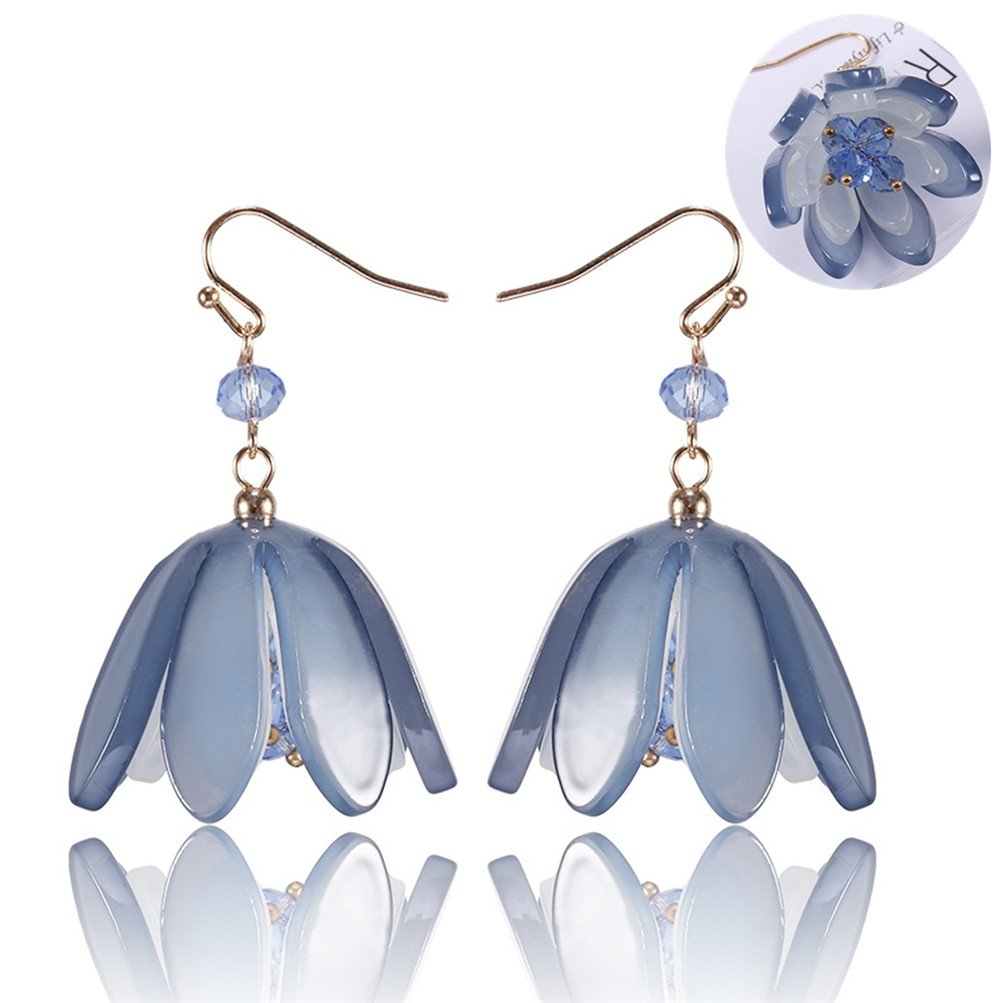 Women Fashion Colorful Resin Round Geometry Flower Leaf Dangle Earrings Acrylic Jewelry