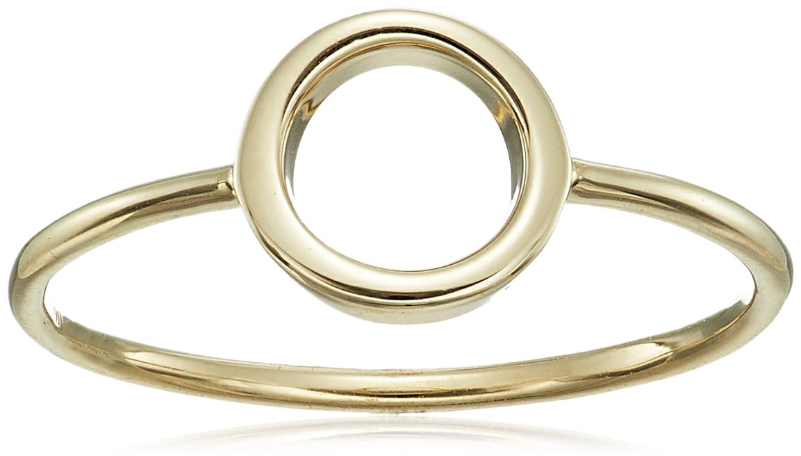 14k Italian Yellow Gold Open Circle Ring, Size 7