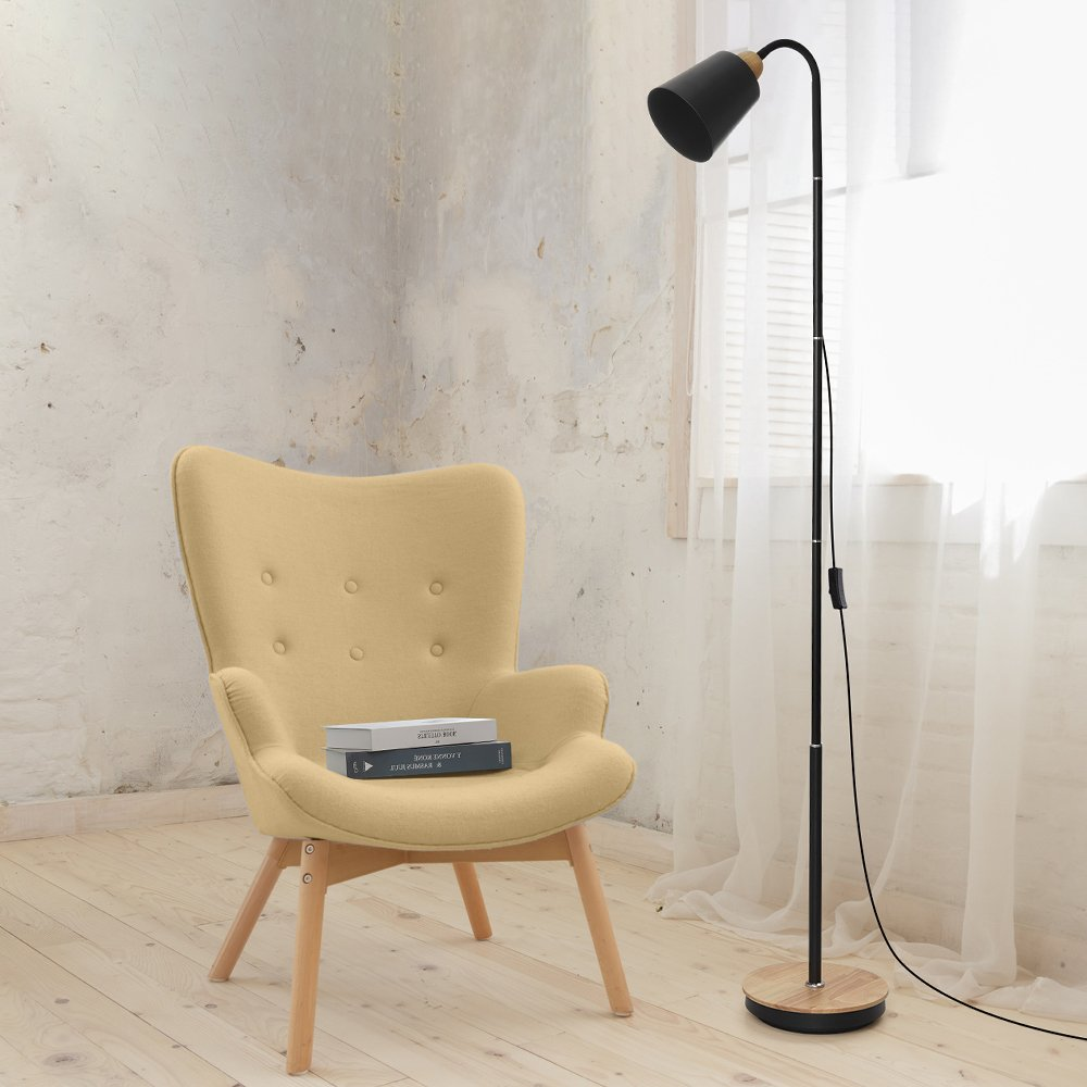 HAITRAL Modern Floor Lamp Office Tall Standing Lamp with 360/° Adjustable Swing Arm Without Bulb Bedroom Black Industrial Reading Lamps for Living Room College Dorm