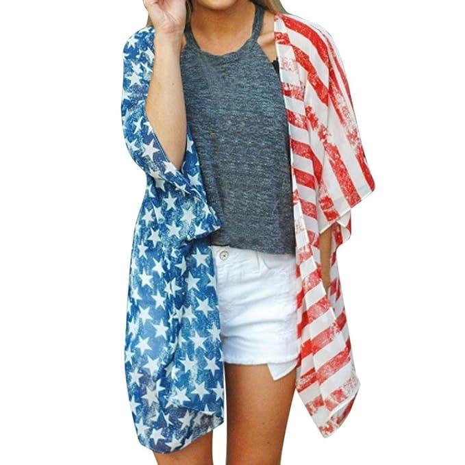 Amazon.com: wytong Mujer Bandera Americana Loose Mantón ...