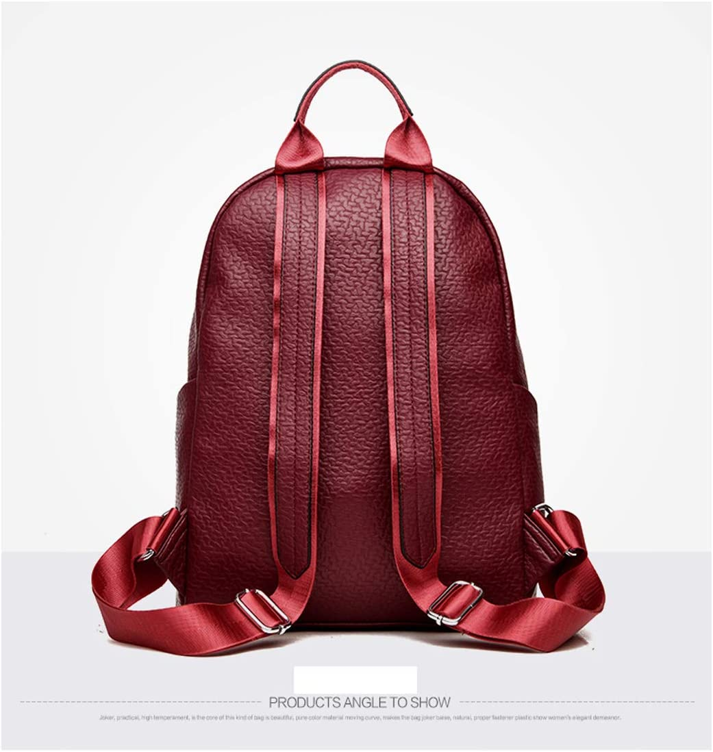 Guyuexuan Girls Multifunctional Backpack for Daily Travel//Tourism//School//Work//Fashion//Leisure Color : Red, Size : 27cm37cm11cm Simple and Large Capacity Latest Models Black//red PU Leather