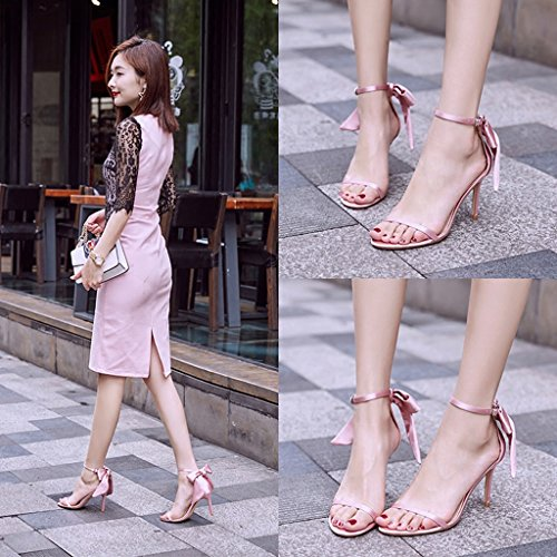 Size shoes sexy shoes sandals 5cm 36 Women high bows heels Color Pink casual Champagne 8 fine with student v0xZqwqI