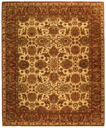 Safavieh Old World Collection OW115G Hand-Knotted Traditional Oriental Ivory and Rust Wool Area Rug (2' x 3') - Agra Wool Area Rug