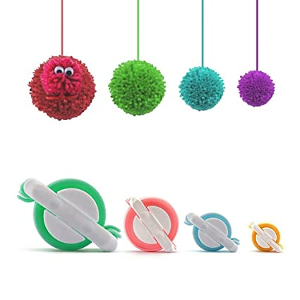 Pom Pom Maker, 4 Tamaños Fluff Ball Weaver Needle PomPom Maker Juegos-DIY  Pompoms