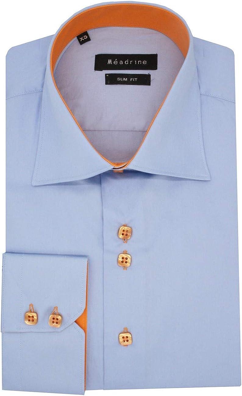 Meadrine - Camisa para Hombre, Color Naranja: Amazon.es: Ropa y accesorios