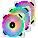 Corsair LL Series, LL120 RGB, 120mm RGB LED Fan, Triple Pack with Lighting Node PRO- White, Lighting Node PRO Included, LL120 RGB White