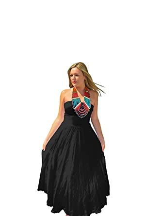 2bfc52575c7 Luna Luz Black Linen Strapless Dress at Amazon Women s Clothing store