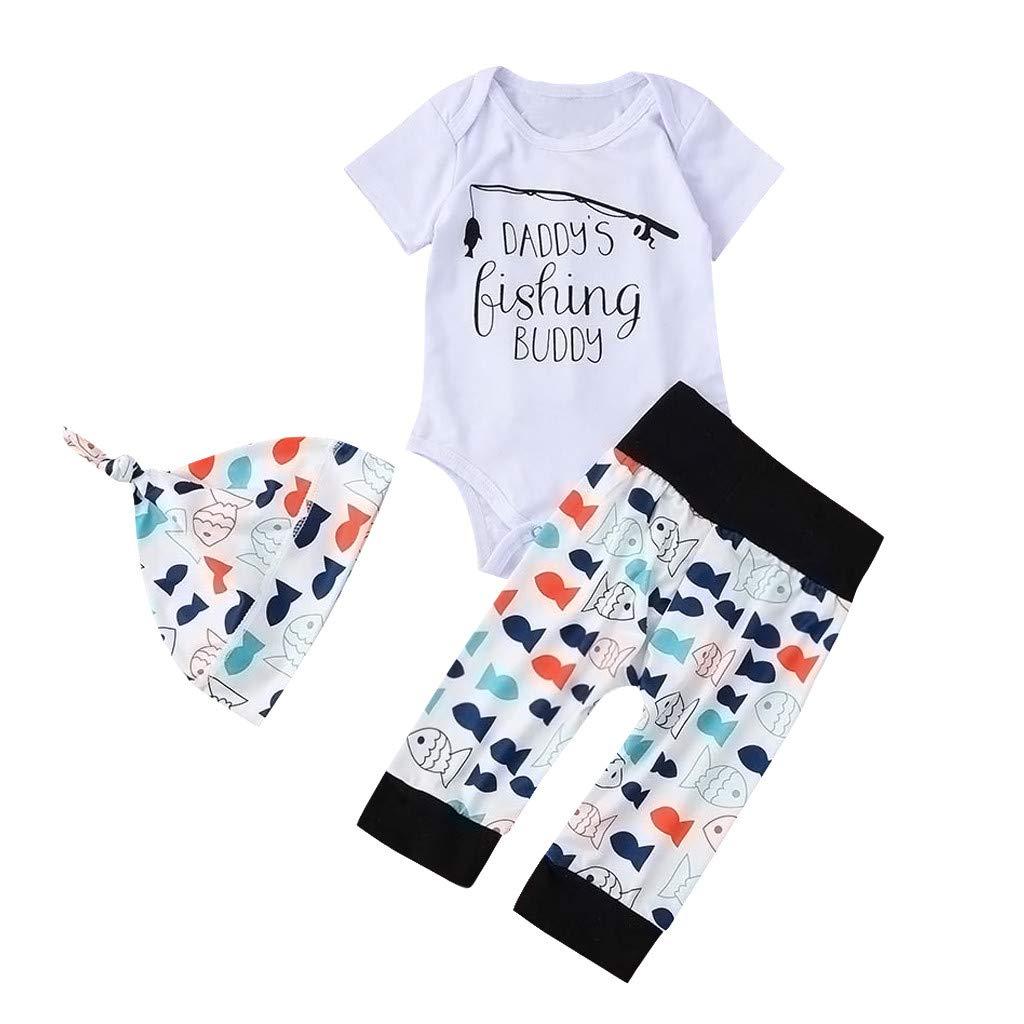 Unisex Baby Summer Set,Jchen Infant Boy Girl Letter Print Short Sleeve Romper +Cartoon Pants+Hats Outfits for 0-24 Months (Age:6-12 Months, White)