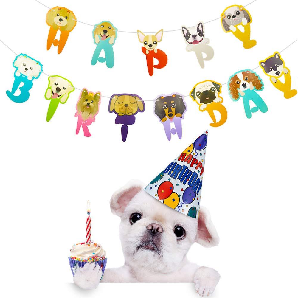 Amazon.com: RainPeach – Banderines de cumpleaños para perro ...