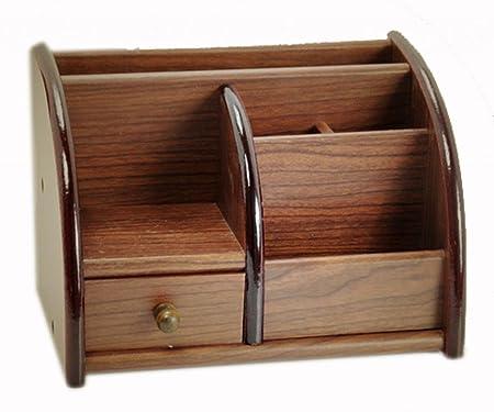 Wood Storage Box Tv Phone Holder Remote Control Pen Organizer