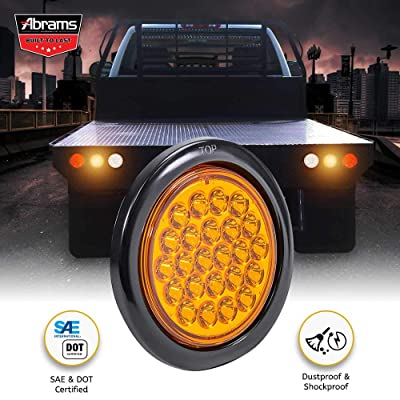 "4"" Amber LED Trailer Tail Light - Round Truck DOT Certified Park Turn Signal Lights – IP67 Waterproof RV Jeep Semi Truck Taillight – 24 Bright LEDs With Colored Lens, Grommet & Plugs Included - 1 Pack: Automotive"