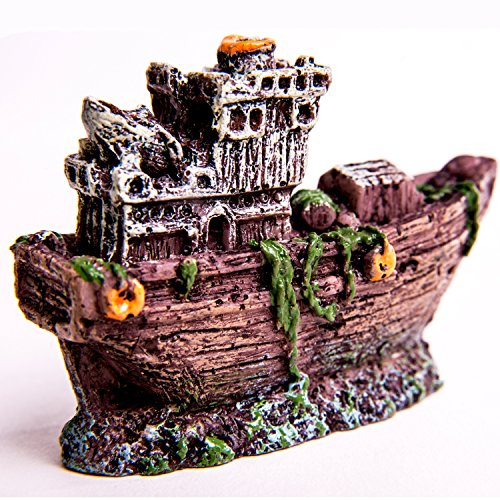 Aquarium Ship Decorations Resin Plastic Shipwreck Decor Boat for Gol Fish Tank Betta Bowls Ornament,3.1 inch tall