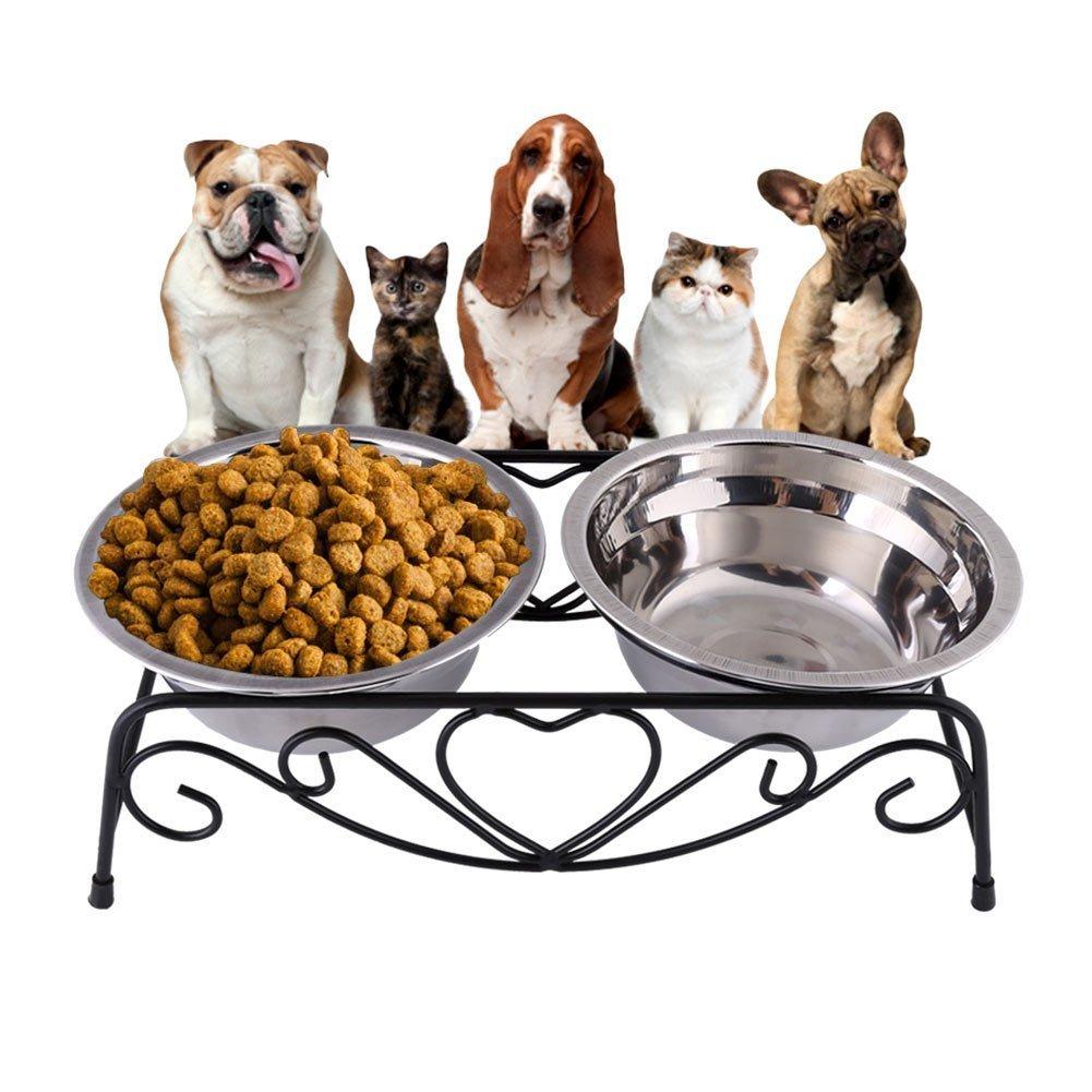 GOTOTOP Ciotola per cani gatti in acciaio inox, Ciotola Doppia Con Supporto Stainless Steel Pet Dog Bowl, 26cmx13.5cmx8.5cm