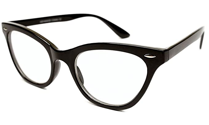 b2552871167f AStyles - Vintage Inspired Gradient Half Tinted Frame Clear Lens Cat Eye  Glasses (Black,