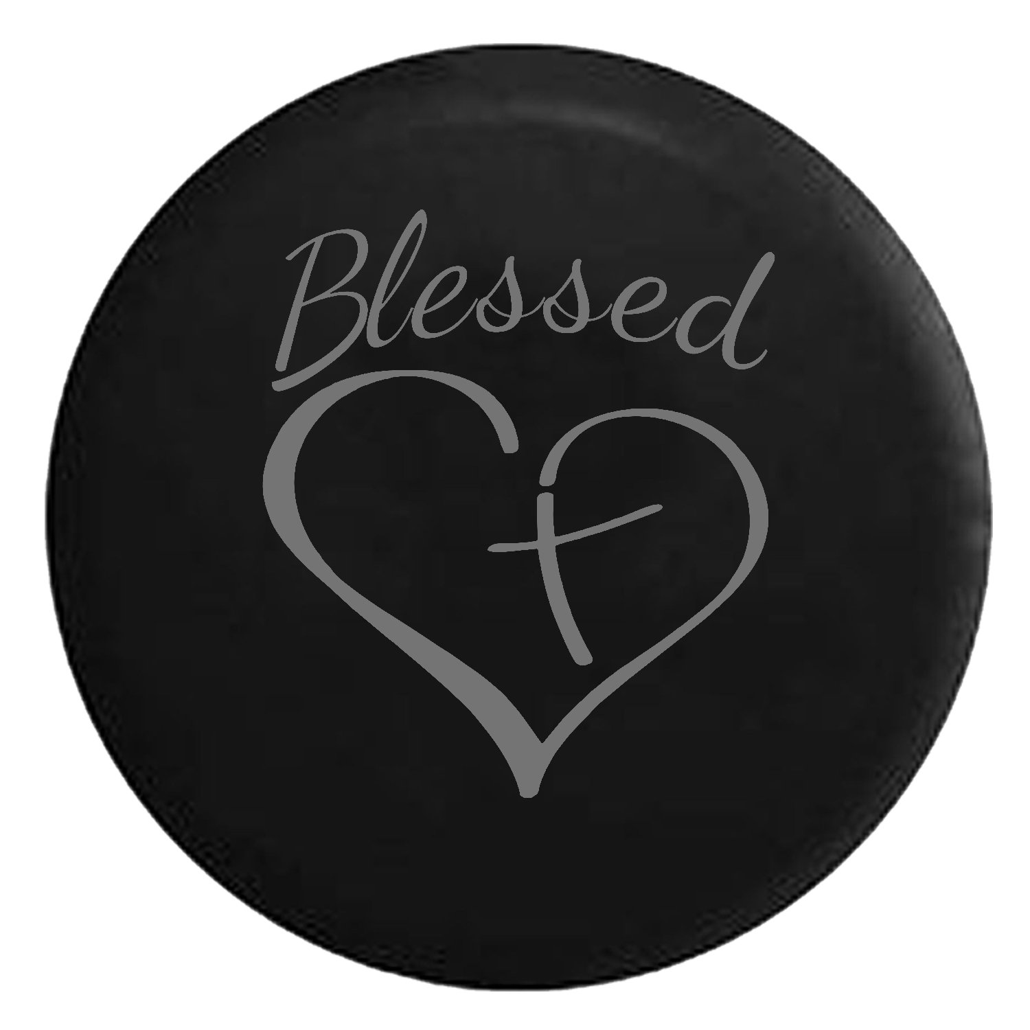 Blessed Heart with Cross Spare Jeep Wrangler Camper SUV Tire Cover Pink Ink 27.5 in