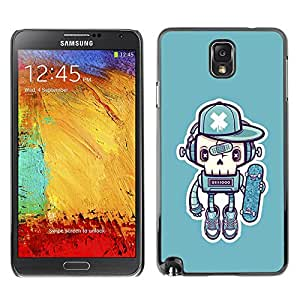 X-ray Impreso colorido protector duro espalda Funda piel de Shell para SAMSUNG Galaxy Note 3 III / N9000 / N9005 - Robot Skate Graffiti Street Art Cap