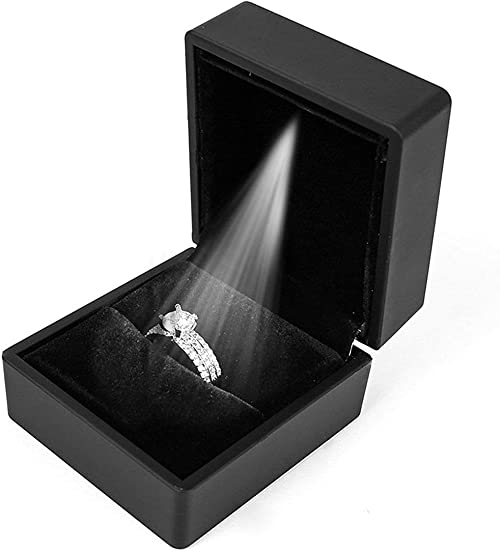 De Luxe Bijoux Collier Boucles Bague Boite Cadeau Avec LED Lumière Fiançailles