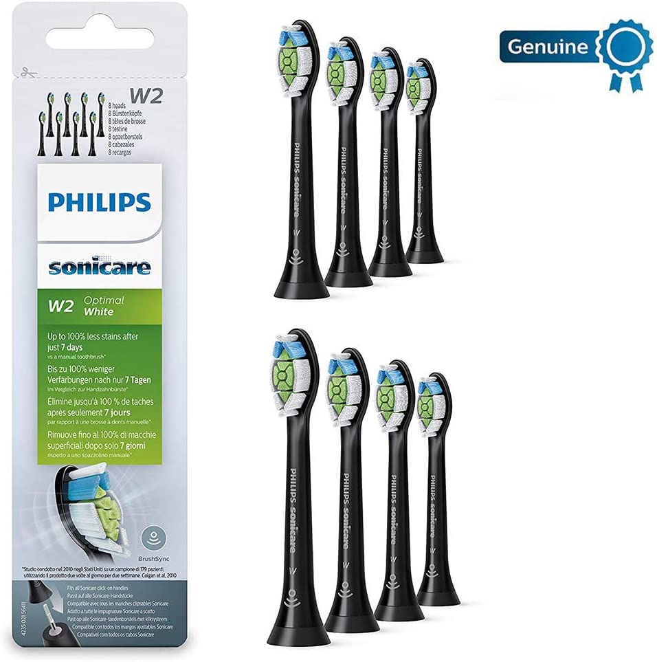Philips Genuine Sonicare Optimal White Replacement Brush Heads, 8 Pack, Black - HX6068/13
