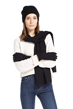 11bb74d2338 Fishers Finery Women s 100% Cashmere 3pc Cable Knit Gift Set - Black Label ( Black