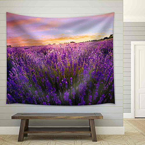 Lavender Field in Summer Near Tihany Hungary Fabric Wall
