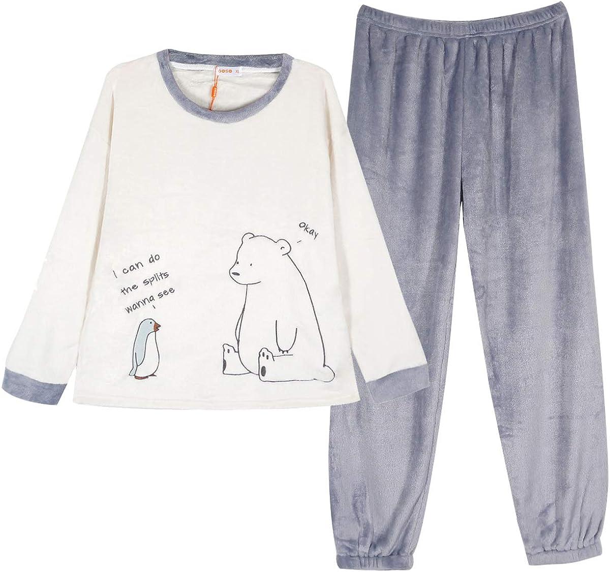 GOSO Pigiama e Pantaloni Lunghi per Adolescenti e Ragazze in Pile Caldo Invernale Pigiama da Bambina Pigiama da Bambina