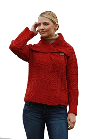 98101ecb52 Image Unavailable. Image not available for. Color  100% Irish Merino Wool  One Button Red Aran Sweater