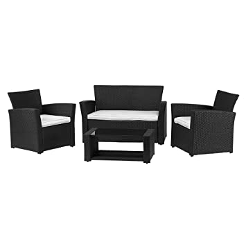 RoyalCraft ébano negro mimbre 4 plazas K.D. Juego de sofá de cojines ...