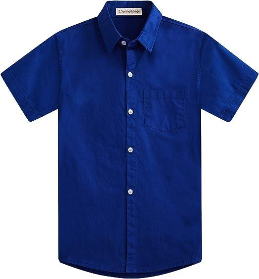 Spring&Gege Chicos Manga Corta Abotonar Camisa para Niño (3-12 Años): Amazon.es: Ropa y accesorios